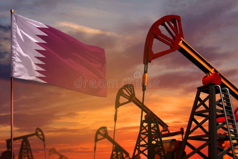 Katarski przemysłu paliwowego pojęcie Przemysłowa ilustracja - Katar szyby naftowi, flaga i i czerwonym, błękitnym z backgro zdjęcia stock