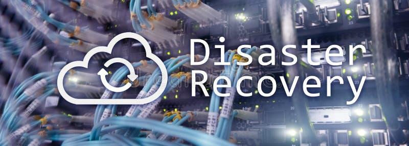 Katastrofåterställning Dataförlustförhindrande Serverrum på bakgrund royaltyfri fotografi
