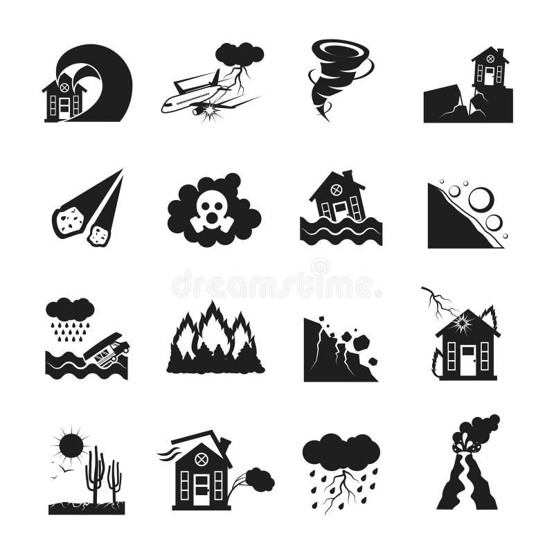 Katastrof Naturalnych Monochromatyczne ikony Ustawiać royalty ilustracja