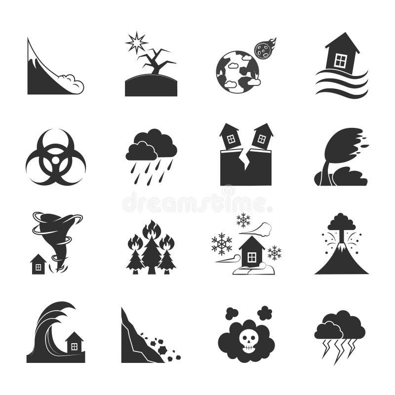 Katastrof Naturalnych Monochromatyczne ikony Ustawiać ilustracja wektor
