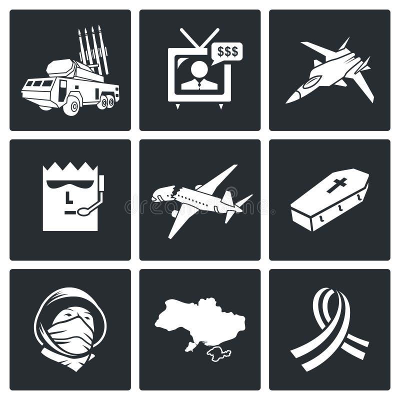 Katastrof samolotu Wektorowe ikony Ustawiać royalty ilustracja