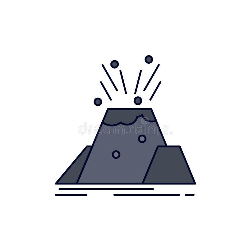 katastrof utbrott, vulkan, varning, för färgsymbol för säkerhet plan vektor royaltyfri illustrationer