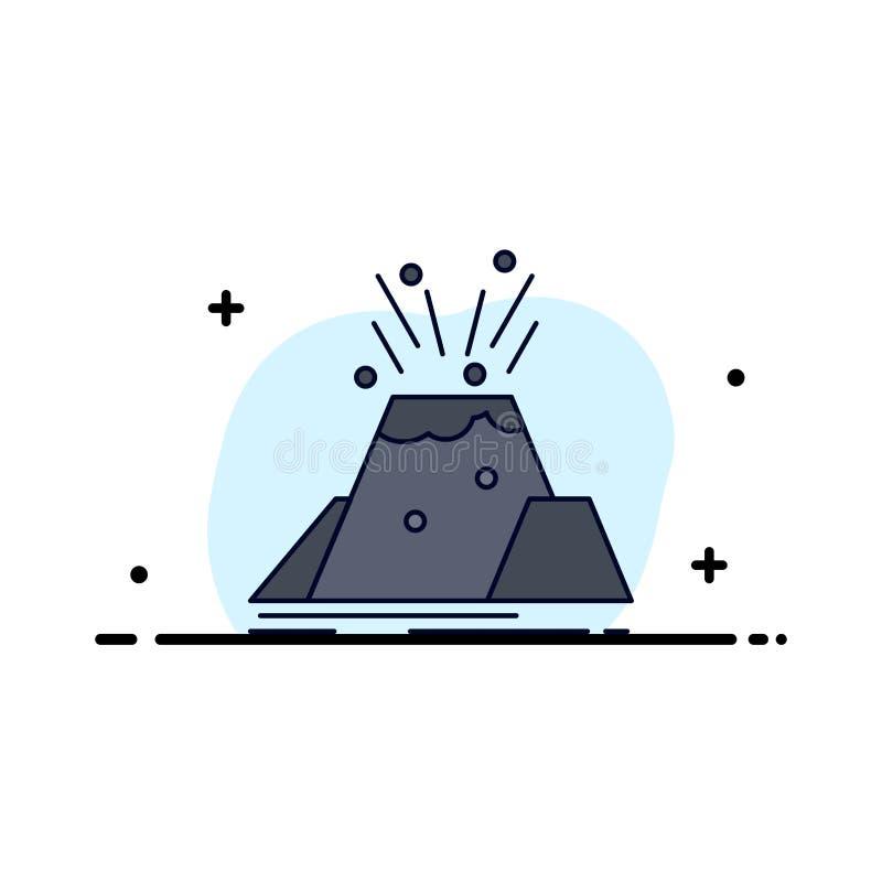 katastrof utbrott, vulkan, varning, för färgsymbol för säkerhet plan vektor vektor illustrationer