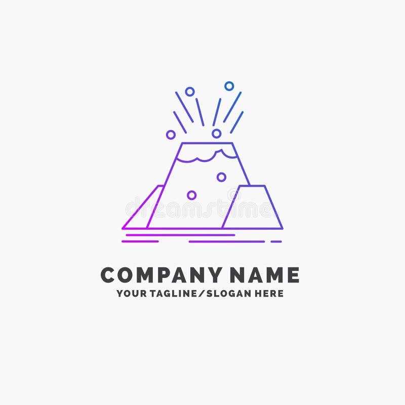 katastrof utbrott, vulkan, varning, purpurfärgad affär Logo Template för säkerhet St?lle f?r Tagline royaltyfri illustrationer