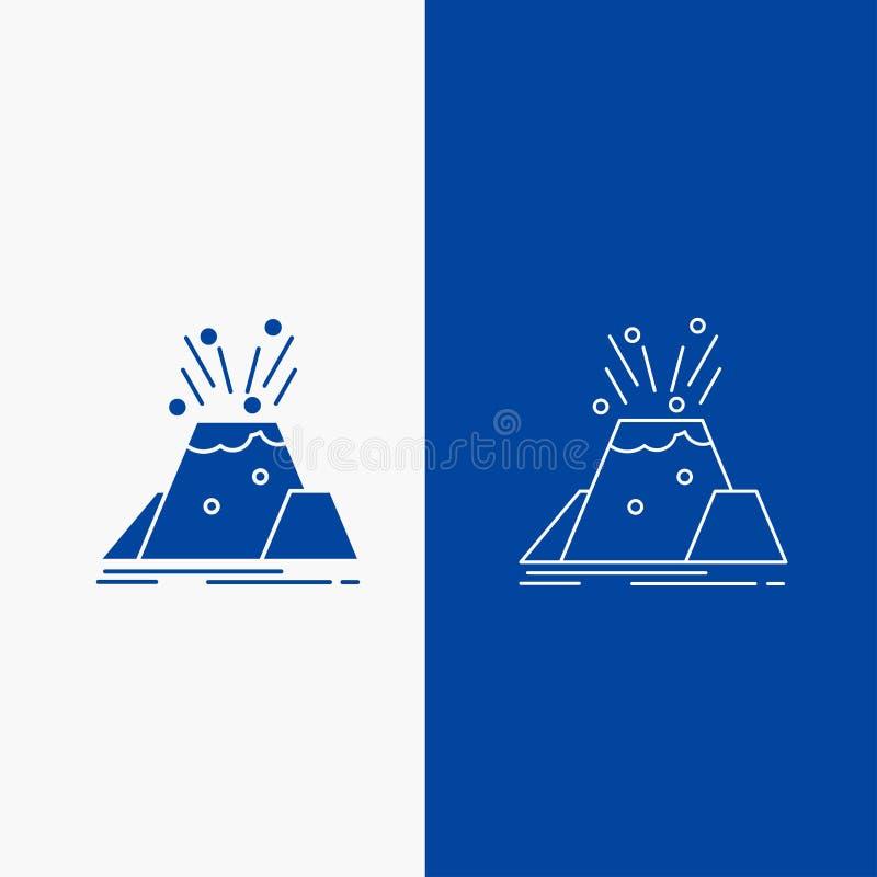 katastrof-, utbrott-, vulkan-, varnings-, säkerhetslinje- och skårarengöringsdukknapp i det vertikala banret för blå färg för UI  royaltyfri illustrationer