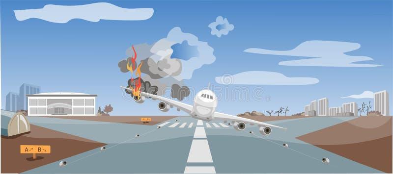 Katastrofa lotnicza, katastrofa lotnicza, awaryjne lądowanie samolotu, sytuacja krytyczna ilustracja wektor