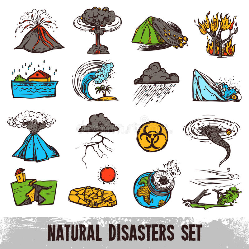 Katastrofa Naturalna koloru set ilustracja wektor
