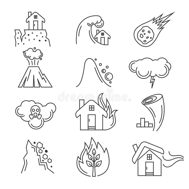 Katastrofa naturalna wektoru ikony ilustracji