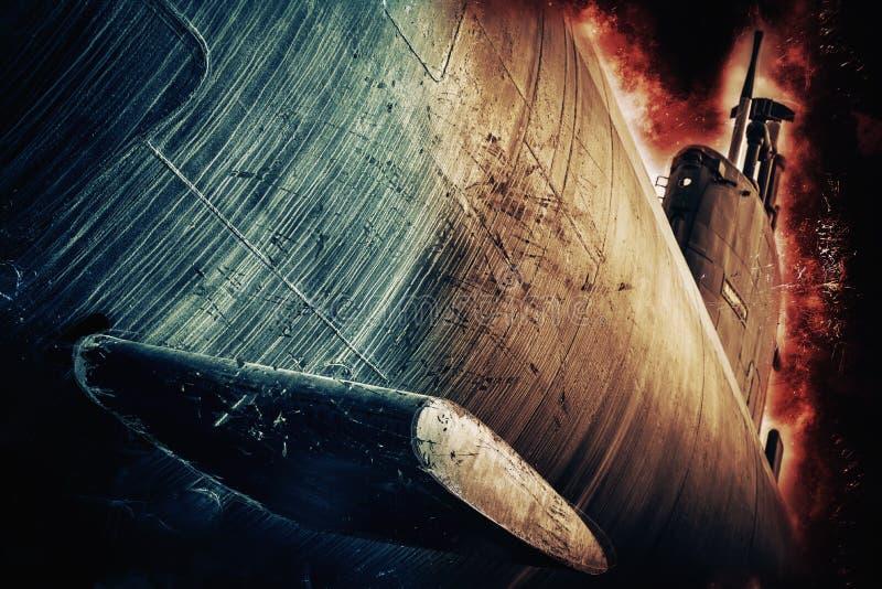 Katastrofa podwodna wojny fotografia royalty free