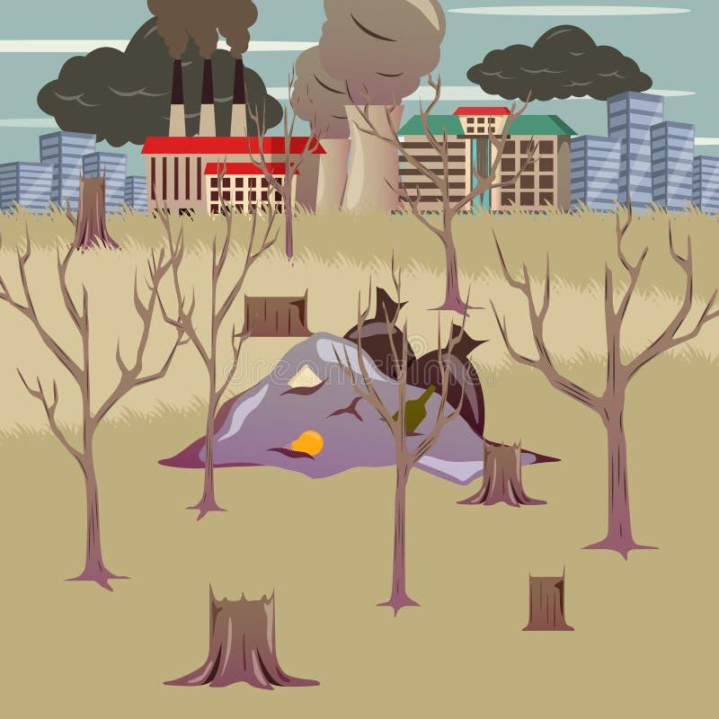 Katastrofa Spowodowana Przez Człowieka Ortogonalny skład ilustracja wektor
