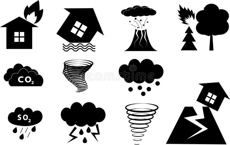 Katastrofen undertecknar in vektorn stock illustrationer