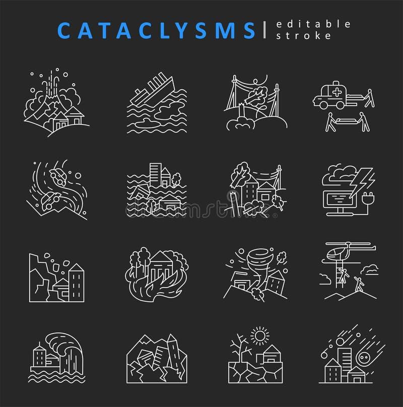 Katastrofer och naturkatastrofer Vektorsymbol och logo Redigerbart översiktsslaglängdformat Linje plan kontur royaltyfri illustrationer