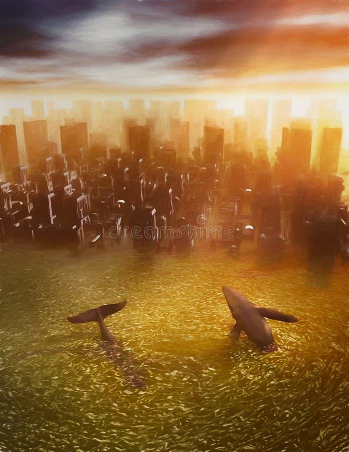 Katastroficza zmiana klimatu royalty ilustracja