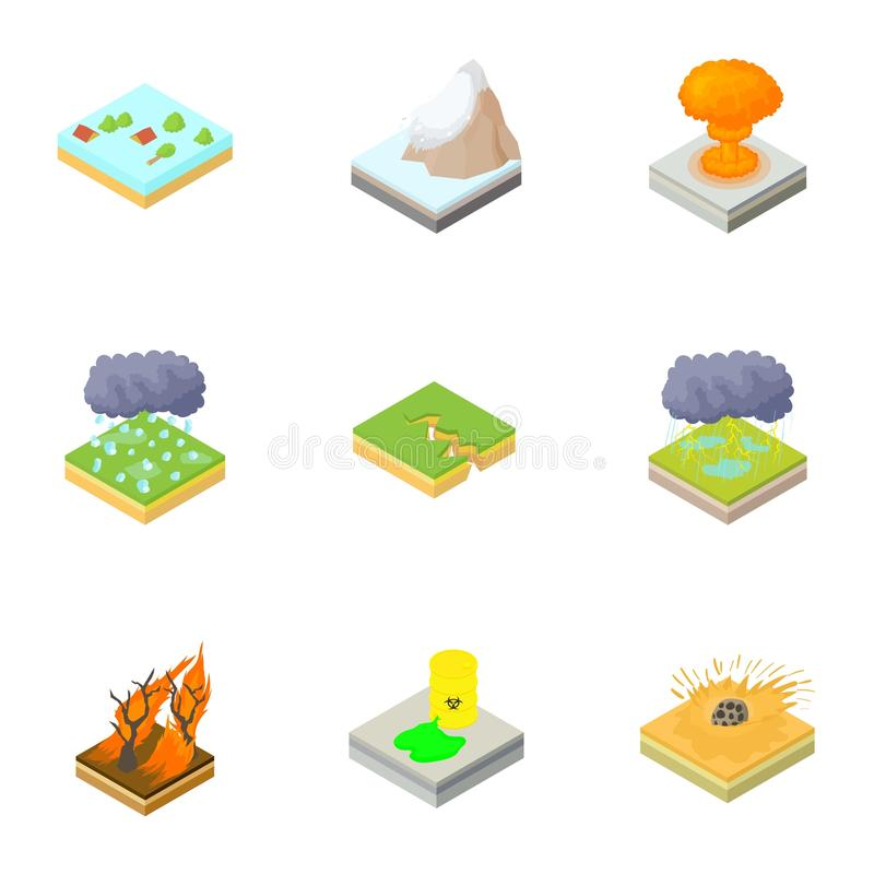 Katastrofsymboler uppsättning, tecknad filmstil vektor illustrationer