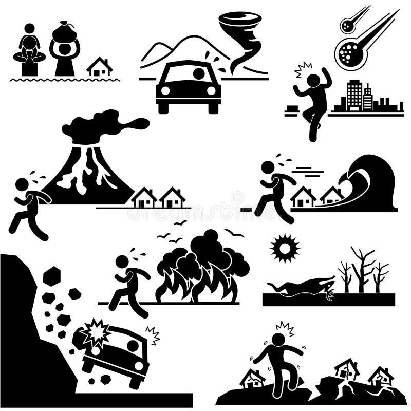 Katastrofy Dzień zagłady Katastrofy Piktogram royalty ilustracja