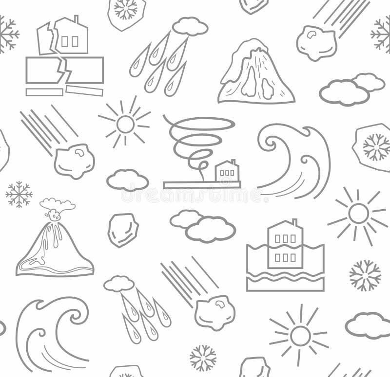 Katastrofy naturalne i warunek pogodowy, bezszwowy biały tło ilustracja wektor