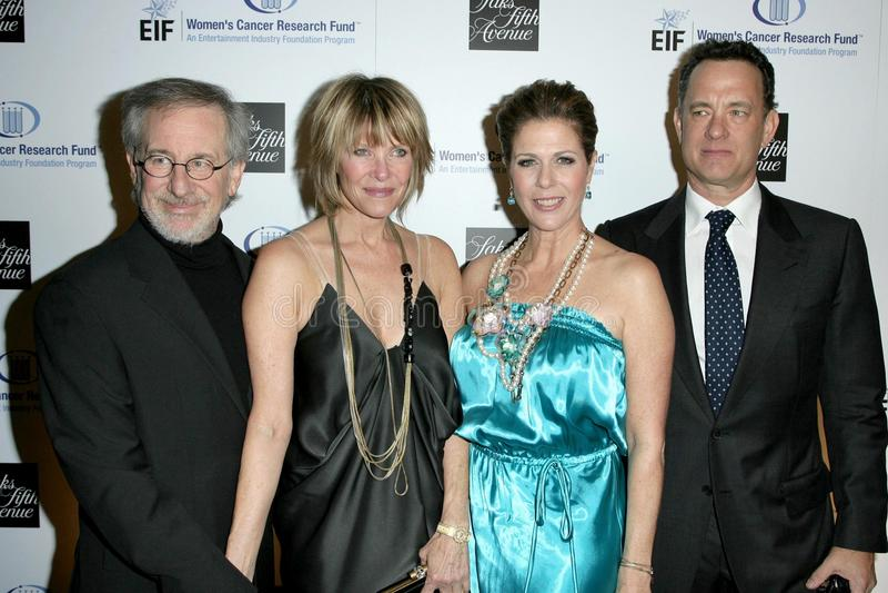 Kate Capshaw, Rita Wilson, Steven Spielberg, Tom Hanks immagini stock