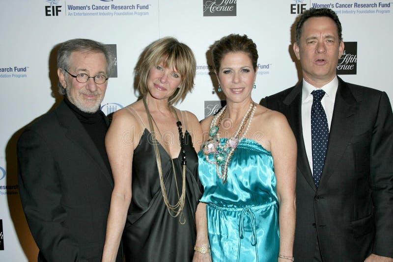 Kate Capshaw, Rita Wilson, Steven Spielberg, Tom Hanks photos stock