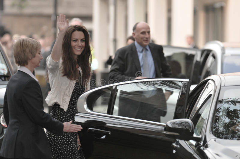 Kate Middleton arrives at the Goring Hotel. On the evening before her wedding to Prince William royalty free stock image