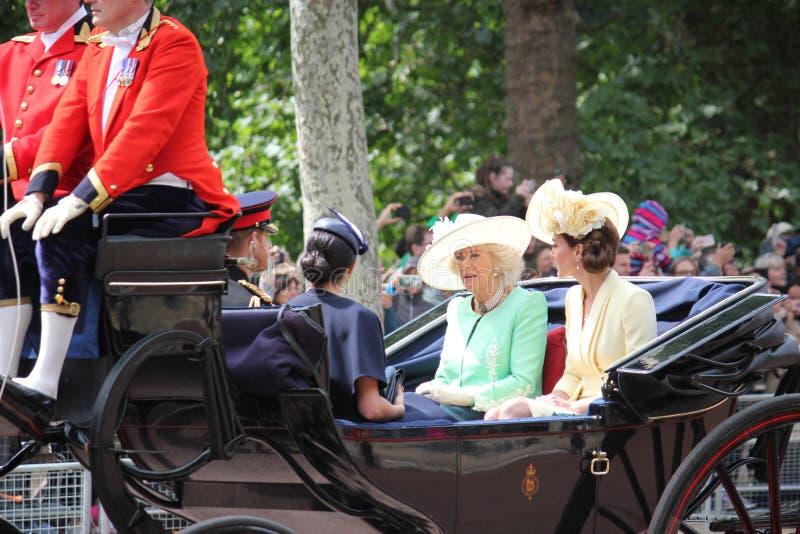 Kate Middleton, Londen het UK 8 Juni 2019 - Meghan Markle Prince Harry George William Charles Kate Middleton stock foto