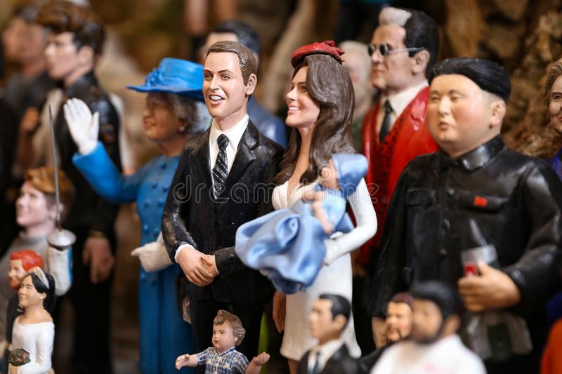 Kate Middleton and Prince William Miniature in Naples, Italy stock photography