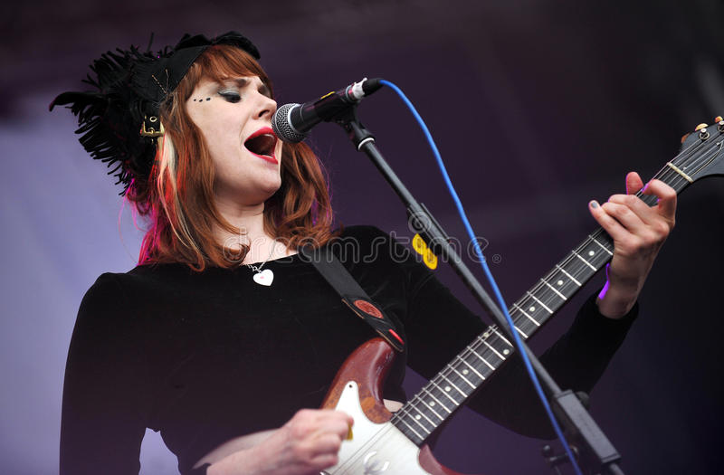 Kate Nash. English singer and songwriter Kate Nash during her performance on festival Rock for People, July 3, 2011 stock images