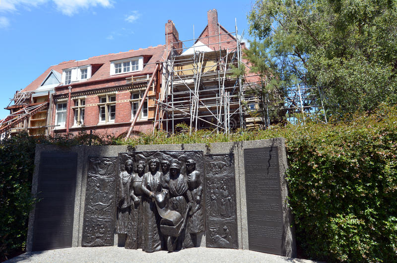 Kate Sheppard National Memoria in Christchurch - Nieuw Zeeland stock fotografie