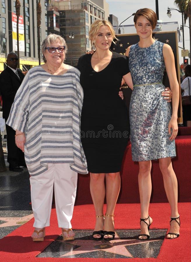 Kate Winslet & Kathy Bates & Shailene Woodley fotografia de stock