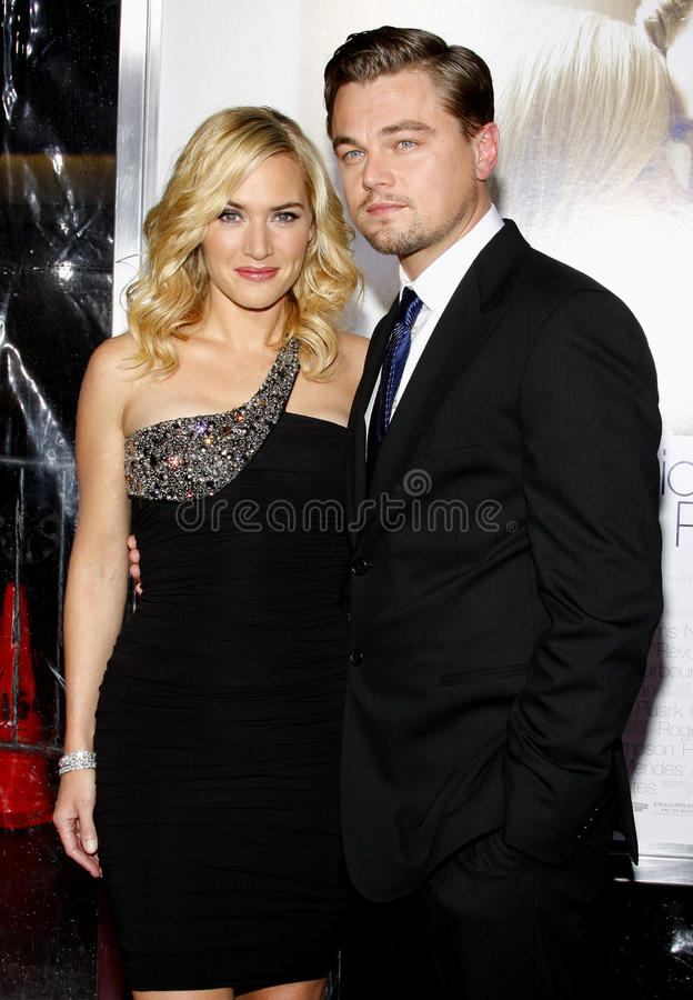 Kate Winslet and Leonardo DiCaprio. At the Los Angeles premiere of 'Revolutionary Road' held at the Mann Village Theater in Westwood on December 15, 2008 royalty free stock photos