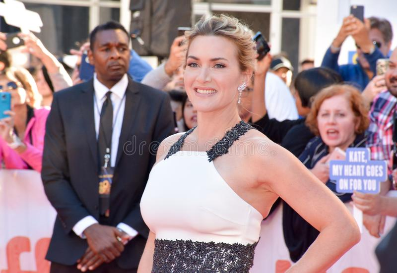Kate Winslet at toronto international film festival. Actress Kate Winslet at premiere of `The Mountain Between Us` during the 2017 Toronto International Film stock images
