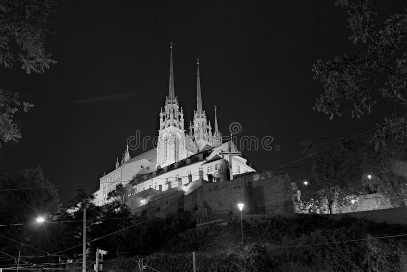 Katedra święty Peter i Paul przy nocą, Brno, republika czech zdjęcie royalty free