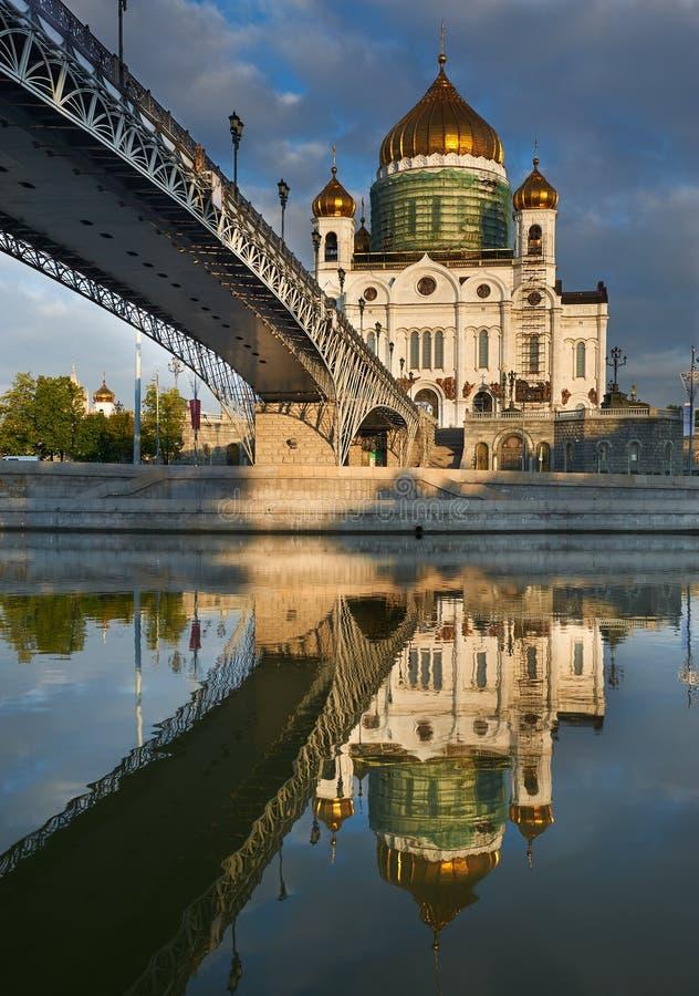 Katedra Chrystus blisko Moskva rzeki Wybawiciel, Moskwa Russi zdjęcia stock