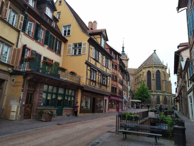 Katedra Colmar i swój Dekorujący z kwiatów kanałami Francja obrazy royalty free
