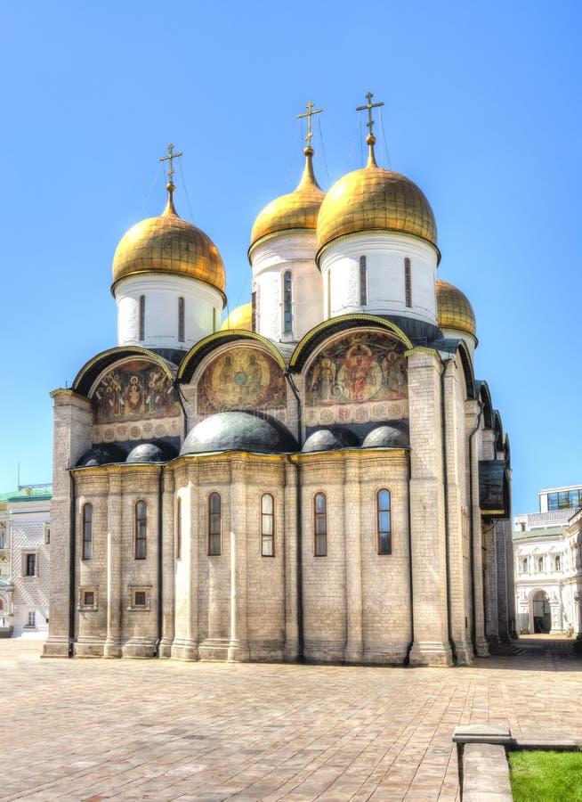 Katedra Dormition Uspensky Sobor lub wniebowzięcia katedra Moskwa Kremlin, Rosja zdjęcie stock