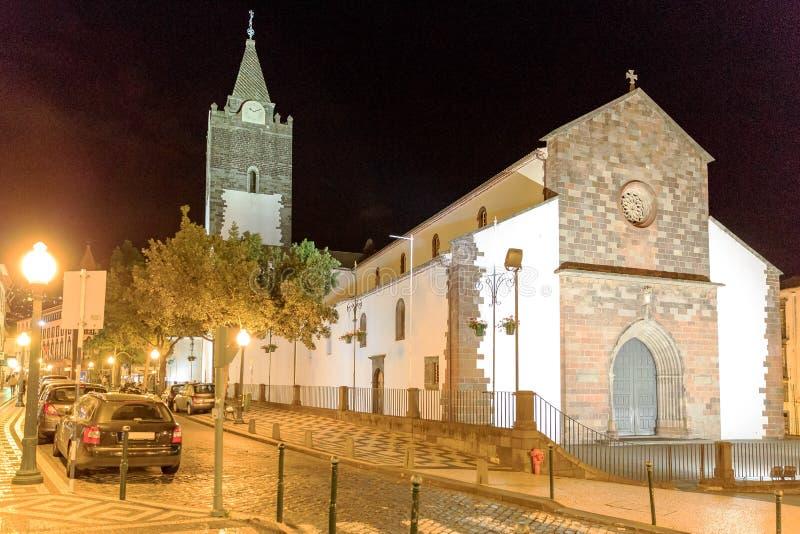 Katedra Funchal przy nocą zdjęcia royalty free