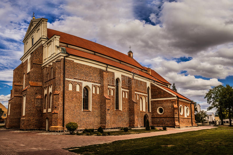 Katedra i Lomza, Polen royaltyfria foton