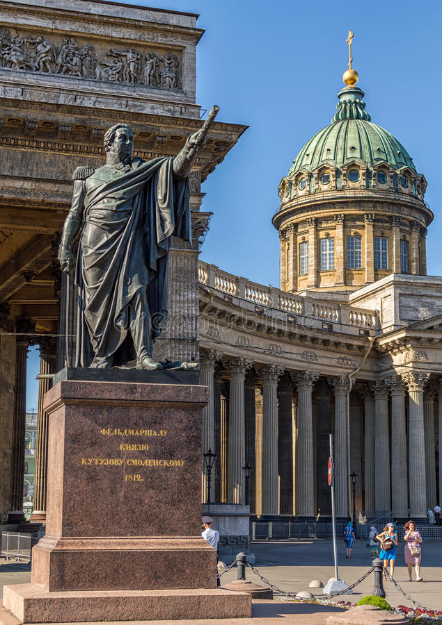Katedra Nasz dama Kazan i zabytek Kutuzov, święty Petersburg, Rosja obrazy royalty free