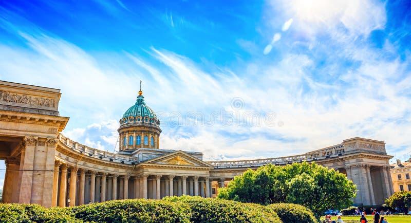 Katedra Nasz dama Kazan w słonecznym dniu, święty Petersburg obraz royalty free
