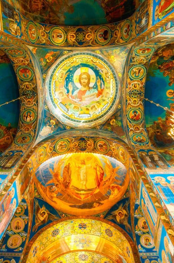 Katedra Nasz wybawiciel na Rozlewałam krwi - wewnętrzny widok St Petersburg punkt zwrotny Mozaika Chrystus Pantocrator, zbliżenie obrazy royalty free