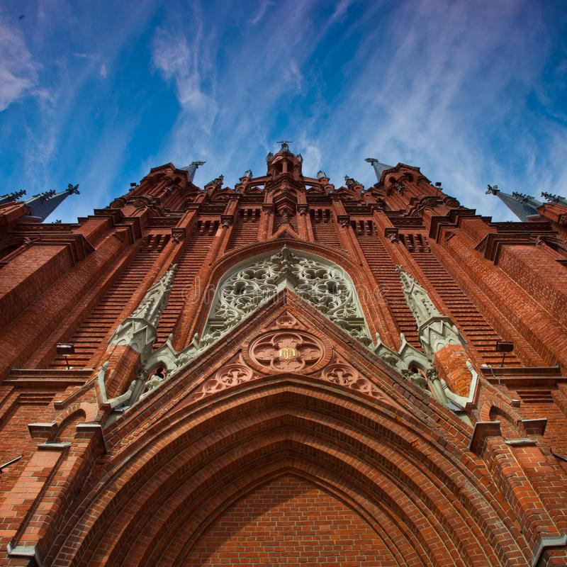 Katedra Niepokalany poczęcie Błogosławiony maryja dziewica Powierzchowność Gocka katedra jest czerwienią bricked zdjęcie royalty free