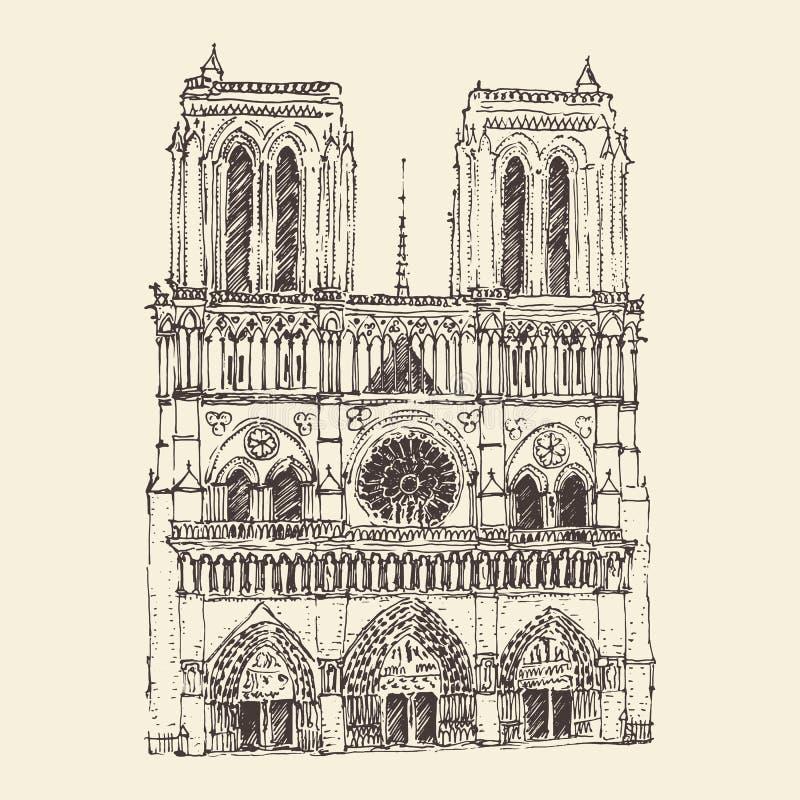 Katedra notre dame de paris, Francja, rocznik grawerował ilustrację ilustracji