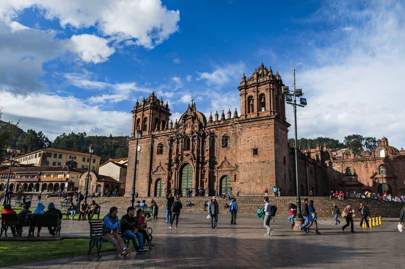 Katedra przy Placem De Armas Cusco, Peru fotografia stock