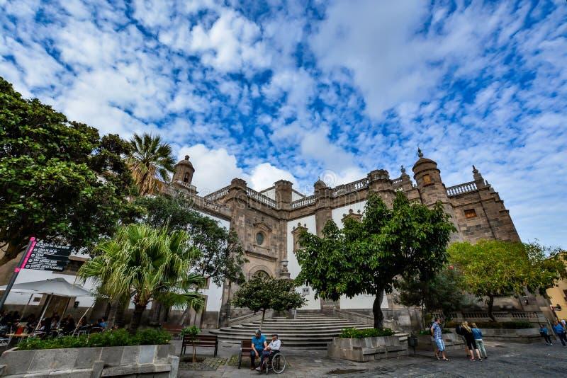 Katedra Santa Ana w las palmas, widok od plecy (Święta bazylika kanarki) obrazy stock