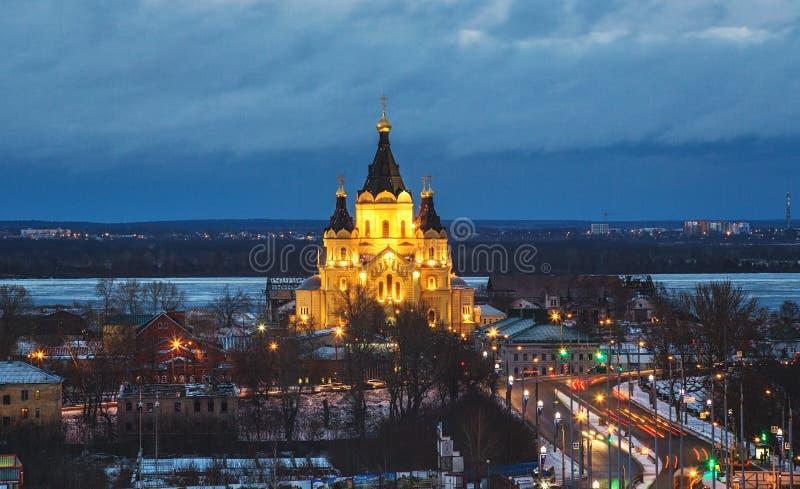 Katedra St Aleksander Nevskiy jest ortodoksyjnym kościół w Nizhny Novgorod zdjęcia stock