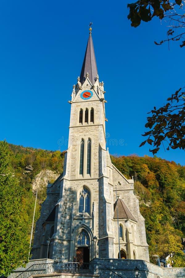 Katedra St floren 1874 w Vaduz, Liechtenstein obraz royalty free