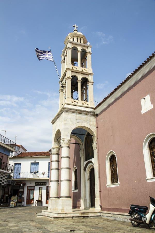 Katedra Trzy Hierarchs, Skiathos miasteczko, Grecja, Sierpień 18, 2017 fotografia royalty free