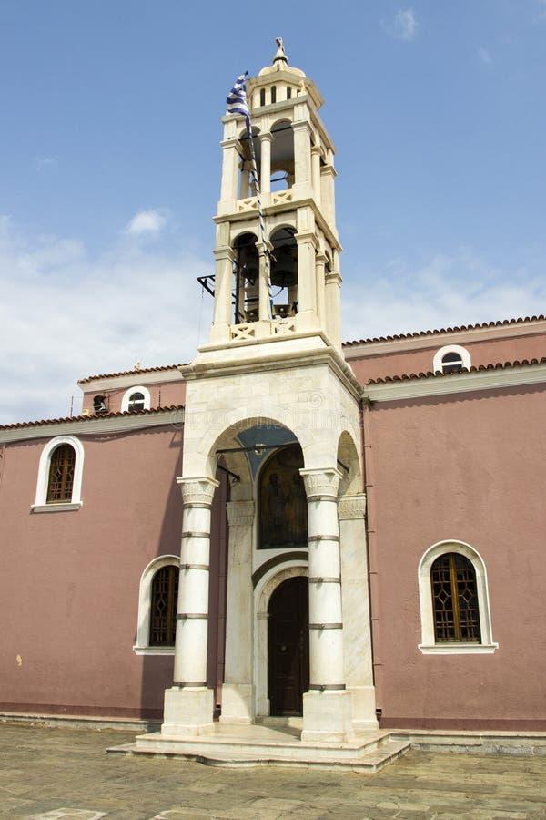 Katedra Trzy Hierarchs, Skiathos miasteczko, Grecja, Sierpień 18, 2017 obraz stock