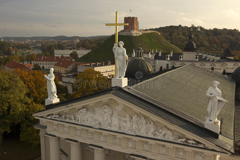 Katedra Vilnius w jesieni zdjęcie royalty free