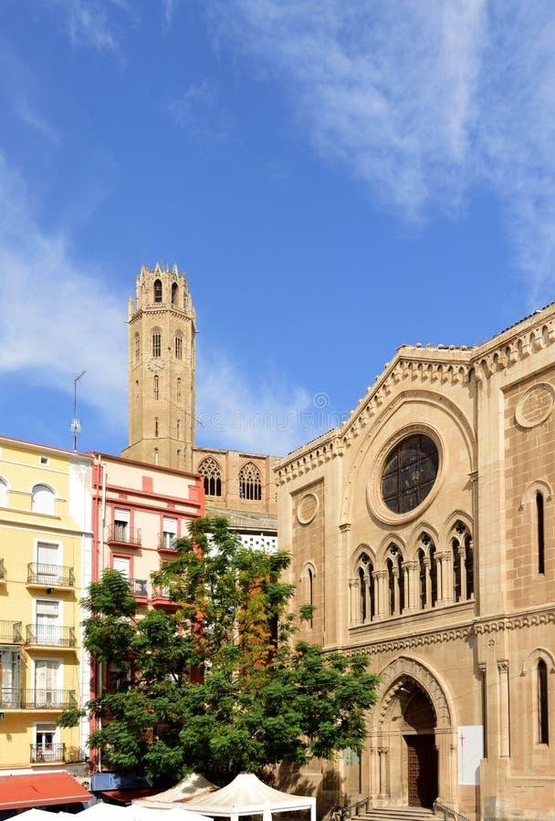 Katedralen La Seu Vella och kyrkan Sant Joan, Katalonien, Spanien royaltyfri fotografi