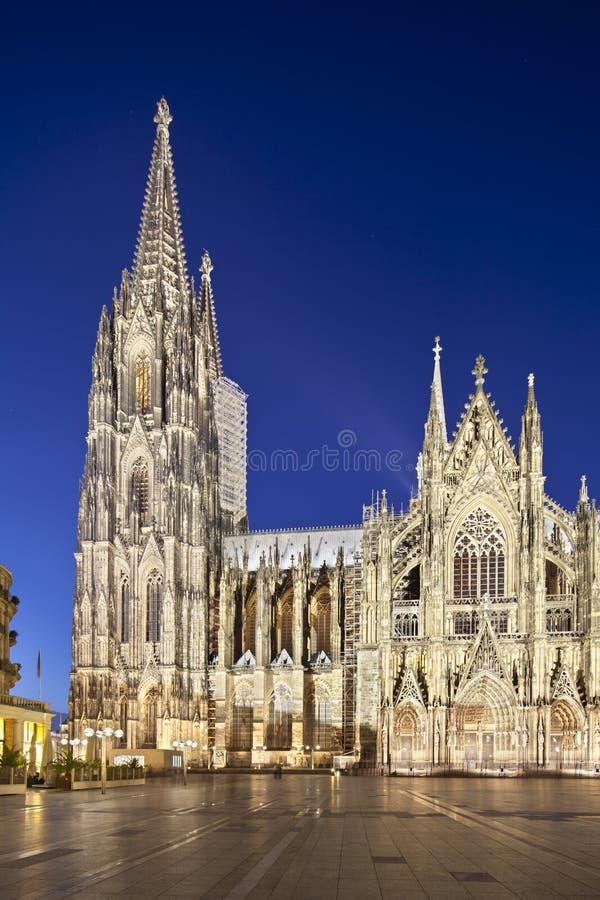 katedralna cologne Germany noc obraz stock